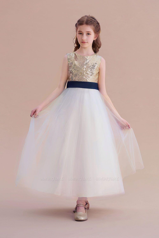 BMbridal A-Line Bow Sequins Ankle Length Flower Girl Dress Online