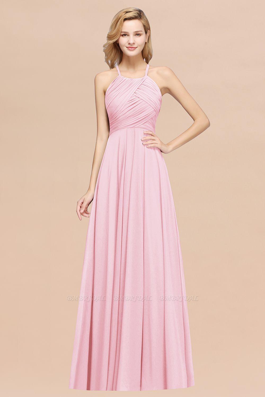 Halter Crisscross Pleated Bridesmaid Dress Blue Chiffon Sleeveless Maid of Honor Dress