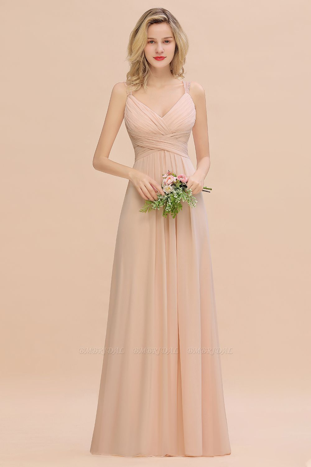 Elegant Spaghetti Straps Pink Backless Bridesmaid Dresses with Beadings