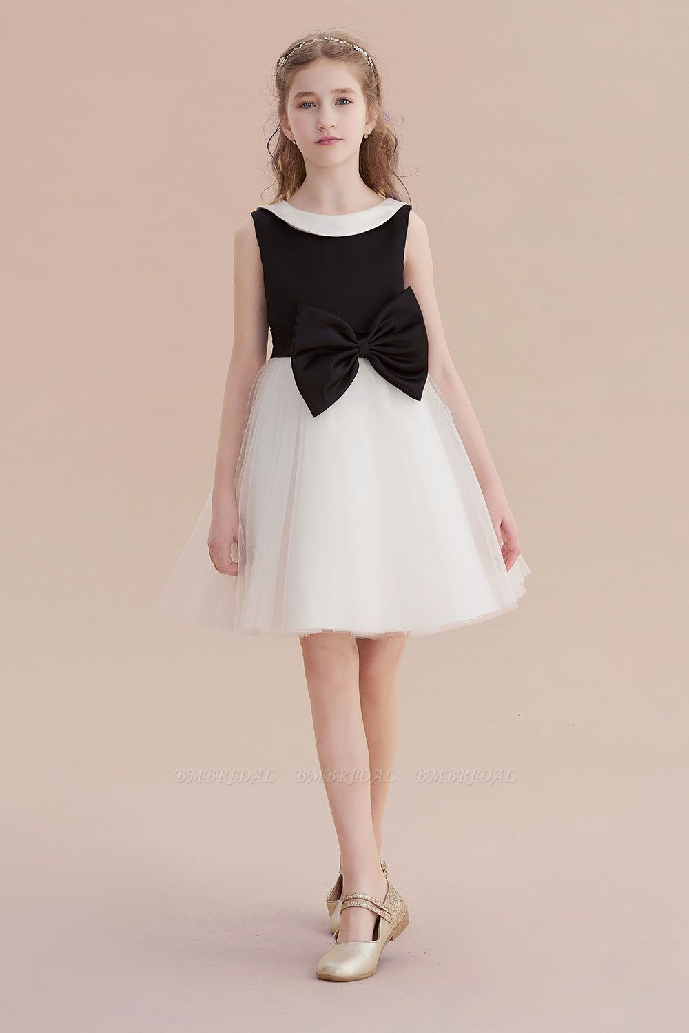 BMbridal A-Line Affordable Bow Tulle Flower Girl Dress On Sale