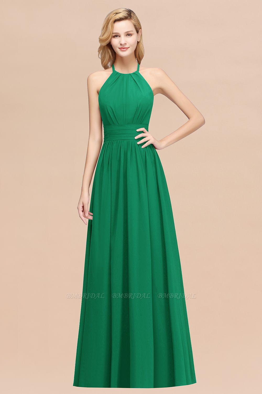 Elegant High-Neck Halter Long Affordable Bridesmaid Dresses with Ruffles