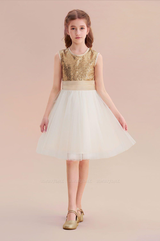 BMbridal A-Line Sequins Tulle Bow Flower Girl Dress On Sale