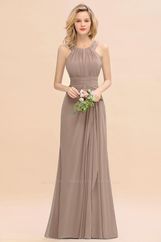 BMbridal Elegant Round Neck Sleeveless Bridesmaid Dress with Ruffles