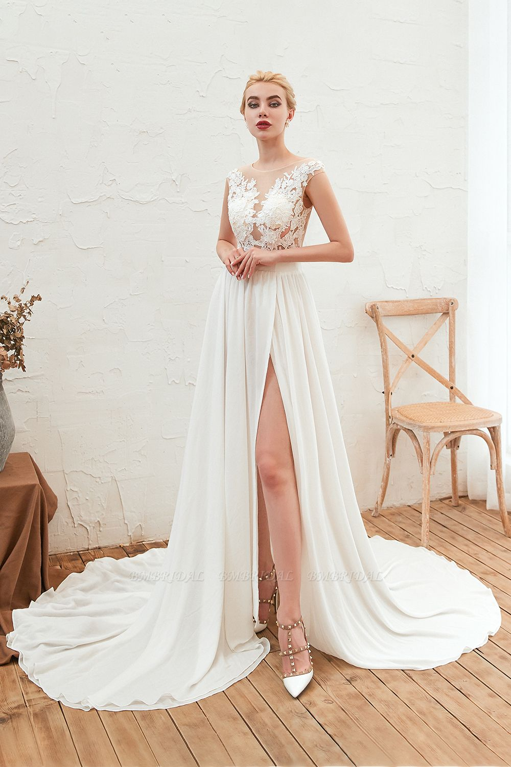 Sexy Jewel Appliques Long Ivory Affordable Wedding Dress with Front Slit
