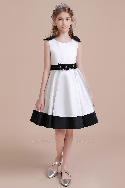 BMbridal A-Line Latest Satin Knee Length Flower Girl Dress Online