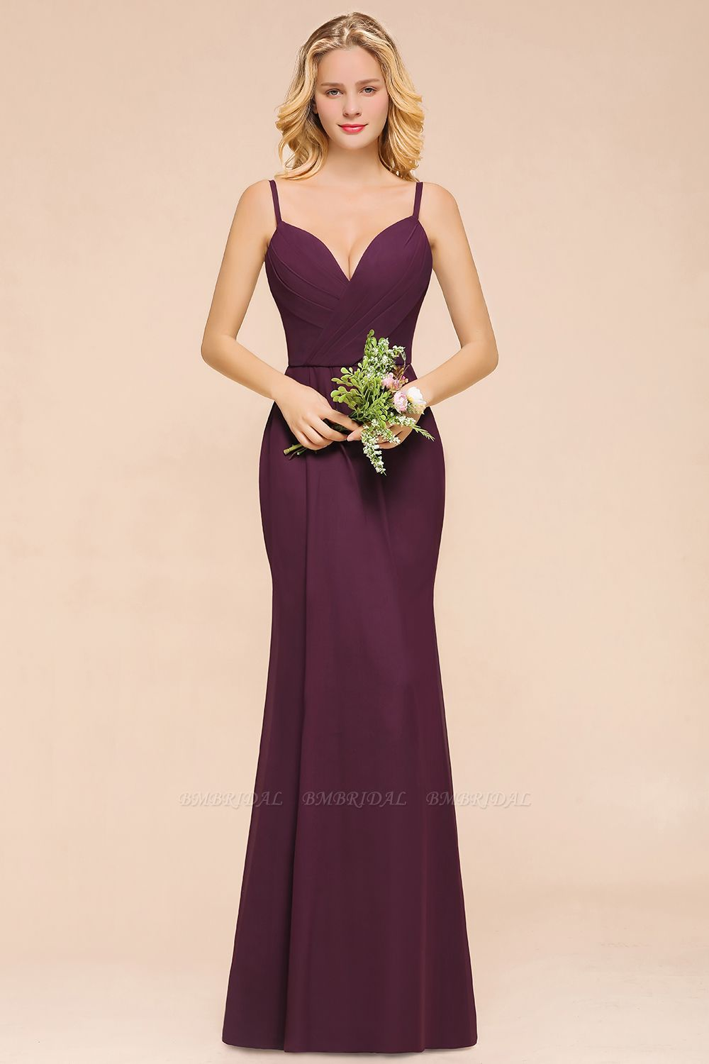 Fantastic Spaghetti Straps V-Neck Grape Bridesmaid Dress with Ruffle
