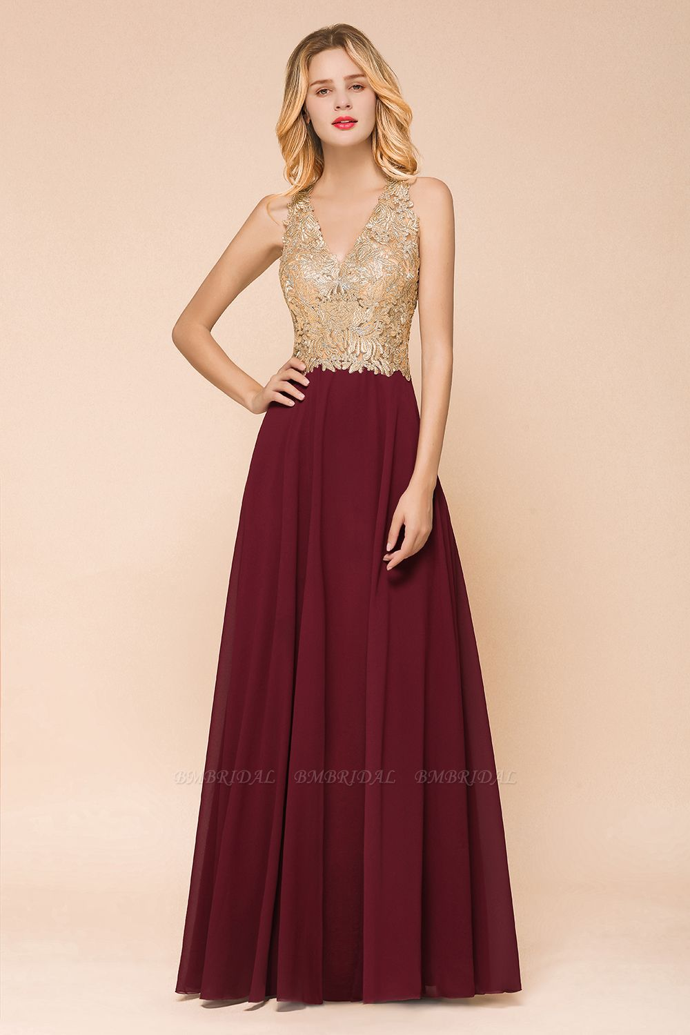 BMbridal Gorgeous V-Neck Burgundy Prom Dress Long Sleeveless Evening Gowns With Appliques