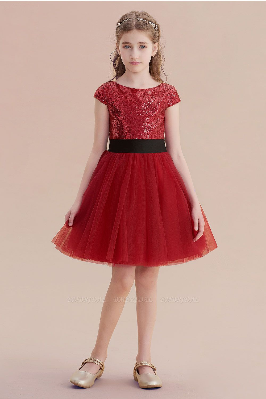 BMbridal A-Line Cap Sleeve Sequins Tulle Flower Girl Dress On Sale