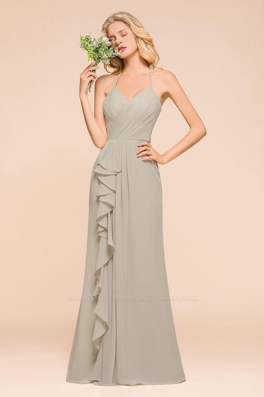 BMbridal Affordable Halter V-Neck Ruffle Silver Chiffon Bridesmaid Dress Online