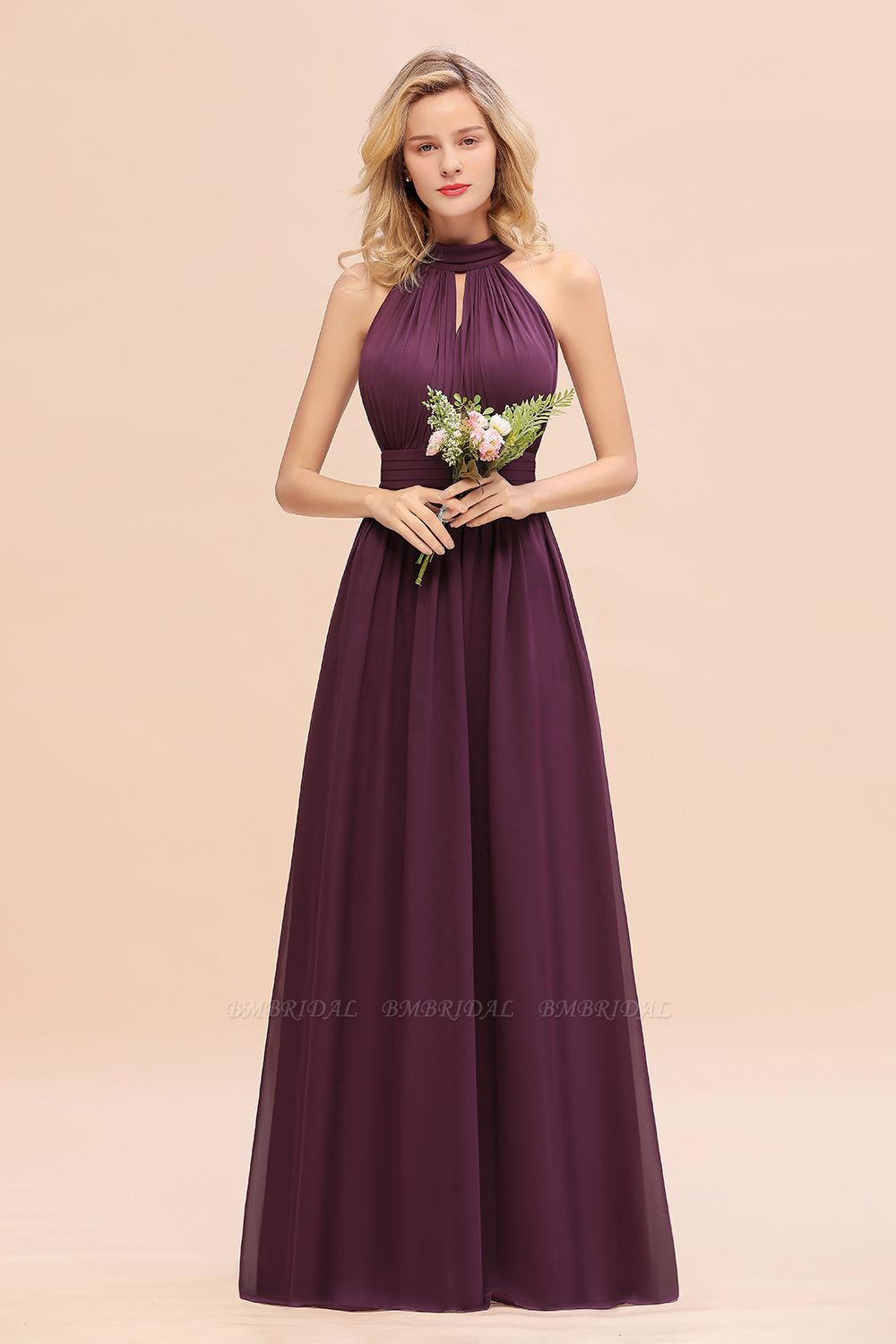 Glamorous High-Neck Halter Bridesmaid Affordable Dresses with Ruffle