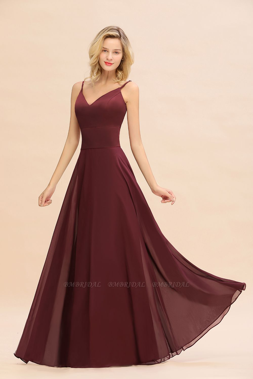 BMbridal Simple Satin Chiffon Spaghetti-Straps Burgundy Long Bridesmaid Dress