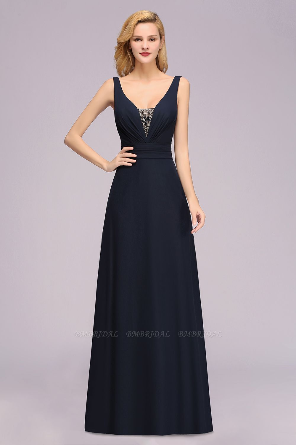 Modest Chiffon V-Neck Long Bridesmaid Dress Online with Beadings