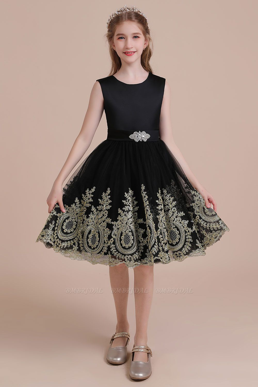 BMbridal A-Line Appliques Satin Tulle Flower Girl Dress Online