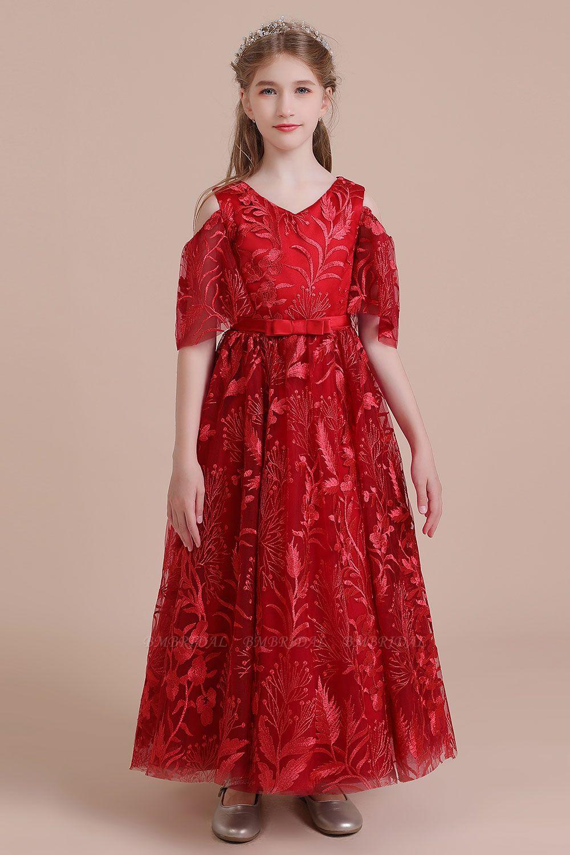BMbridal A-Line V-neck Tulle Cold-shoulder Flower Girl Dress On Sale