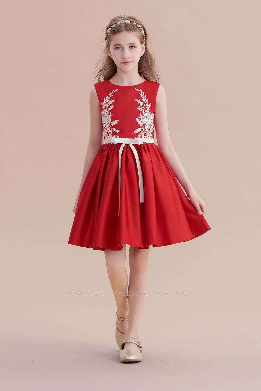 BMbridal A-Line Affordable Appliques Satin Flower Girl Dress Online