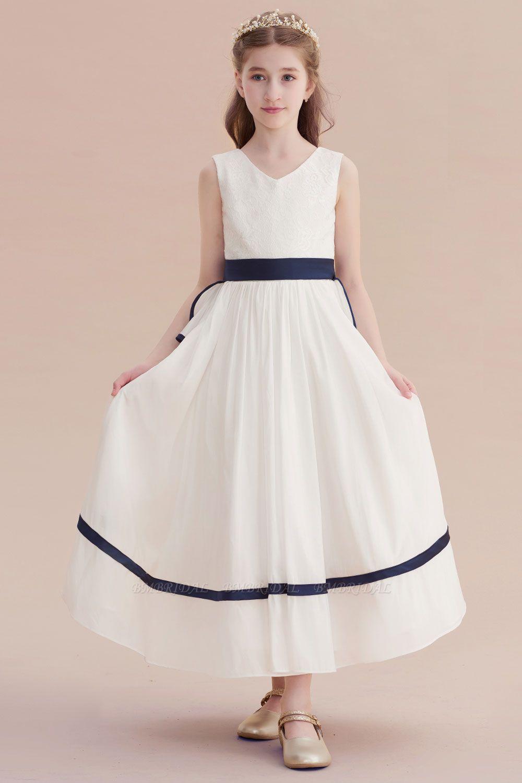 BMbridal A-Line Chic V-neck Lace Ankle Length Flower Girl Dress Online
