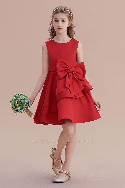BMbridal A-Line Chic Bow Satin Knee Length Flower Girl Dress On Sale
