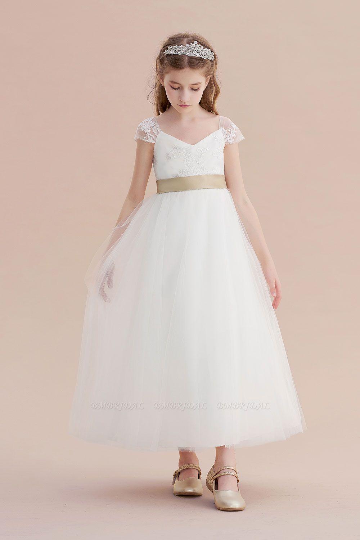 BMbridal A-Line Cap Sleeve Sweetheart Tulle Flower Girl Dress Online