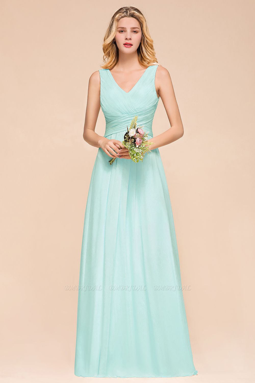Chic V-Neck Sleeveless Mint Green Bridesmaid Dresses with Ruffle