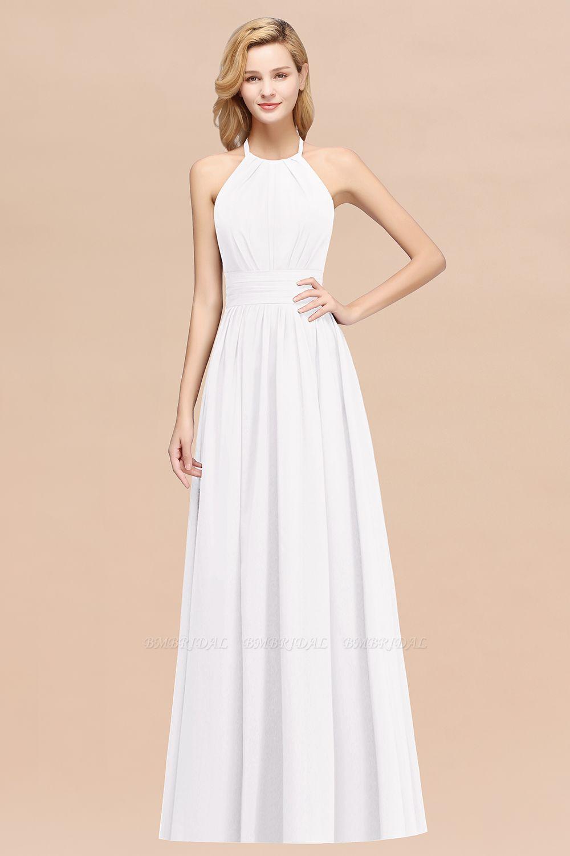 Green High Neck Halter Long Bridesmaid Dresses Bmbridal