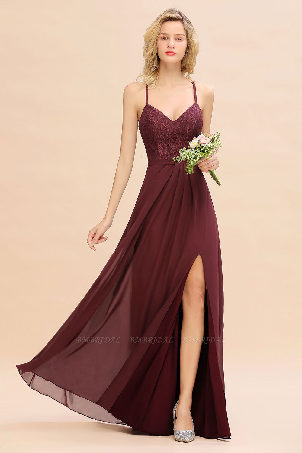 Elegant CrissCross Back Burgundy Lace Bridesmaid Dress With Spaghetti Straps