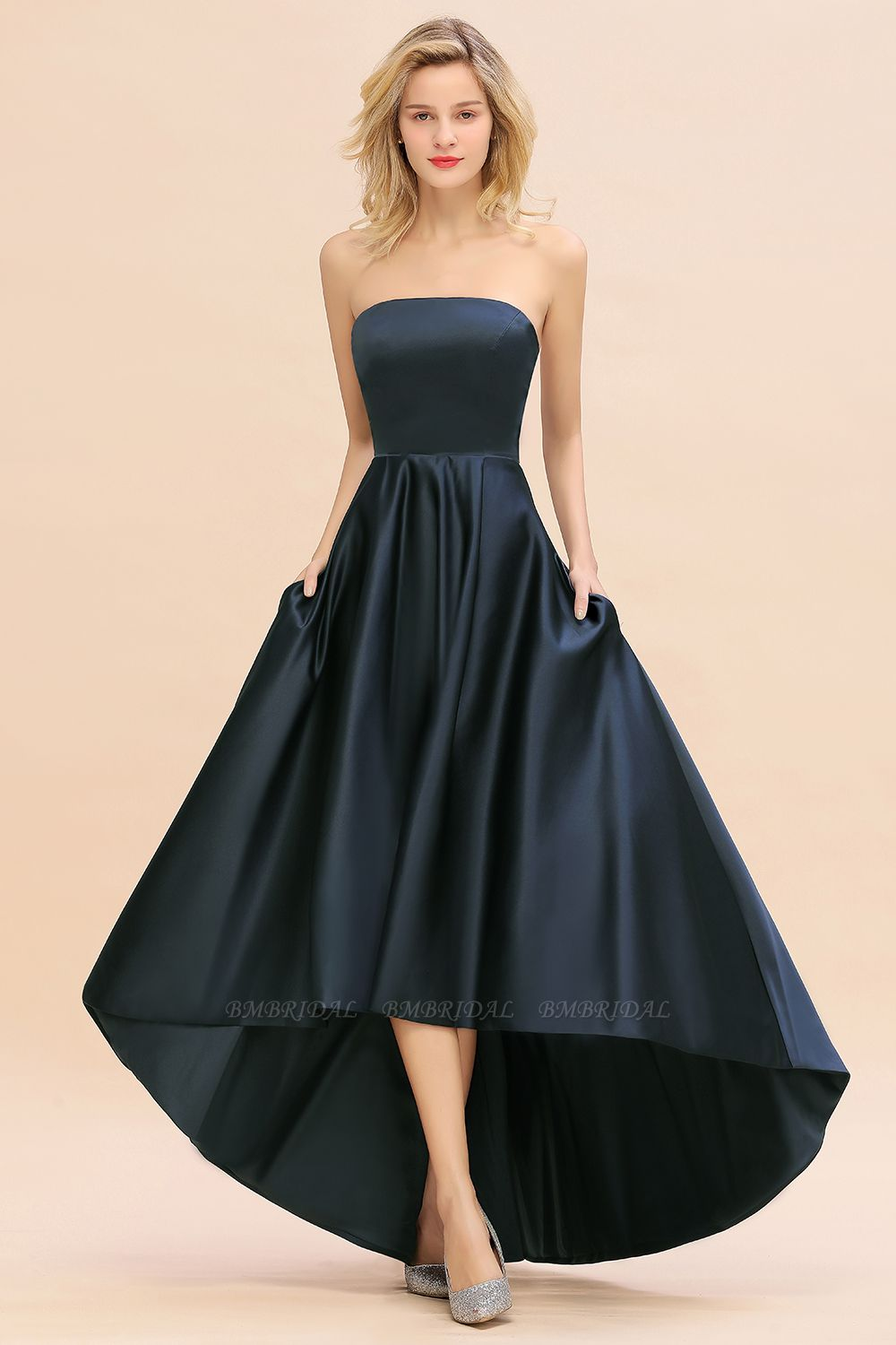 BMbridal Affordable Hi-Lo Strapless Satin Bridesmaid dresses Online