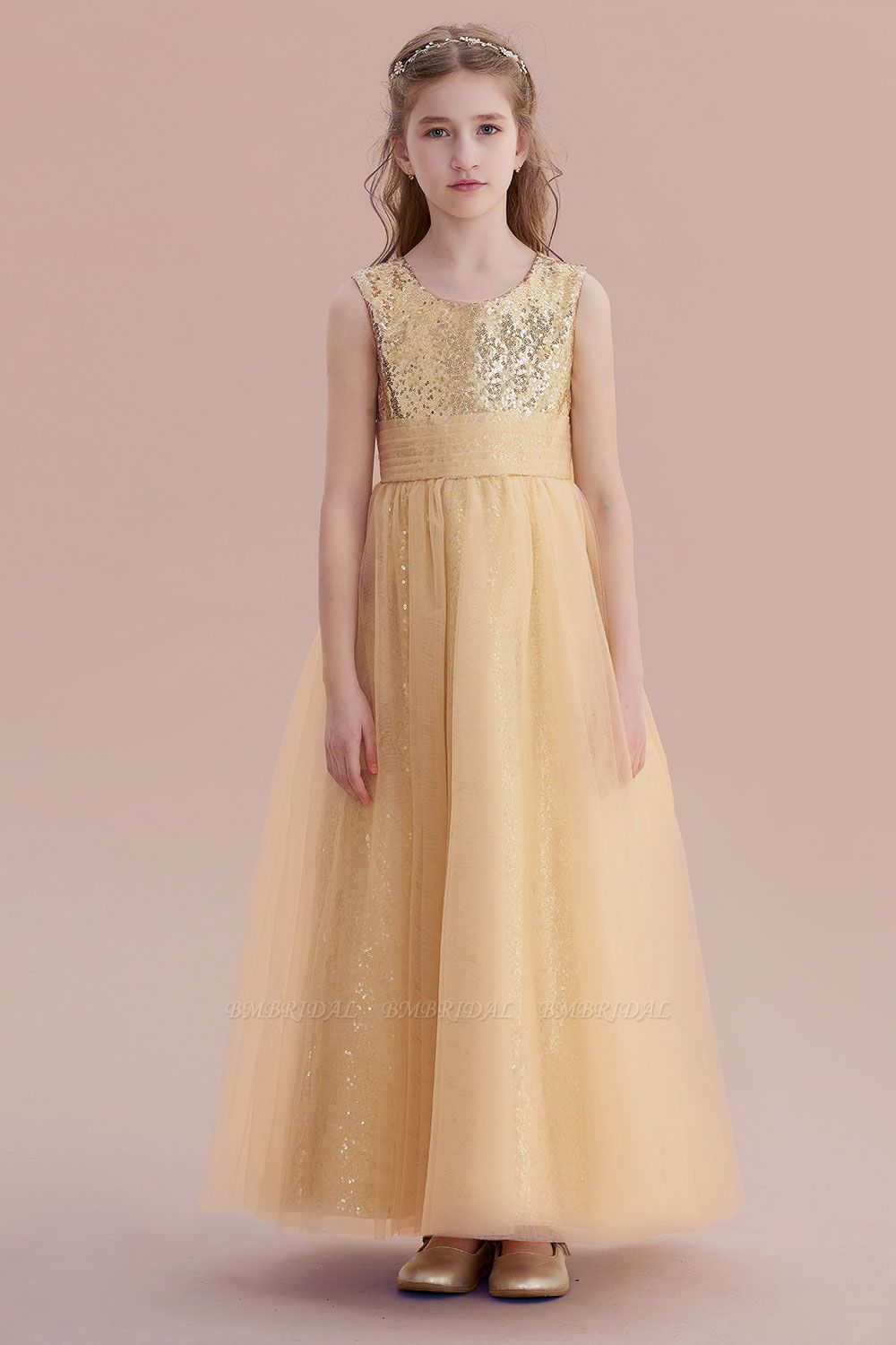 BMbridal A-Line Awesome Sequins Tulle Flower Girl Dress Online