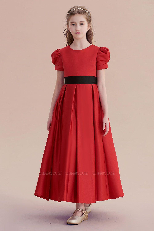 BMbridal A-Line Awesome Short Sleeve Satin Flower Girl Dress Online