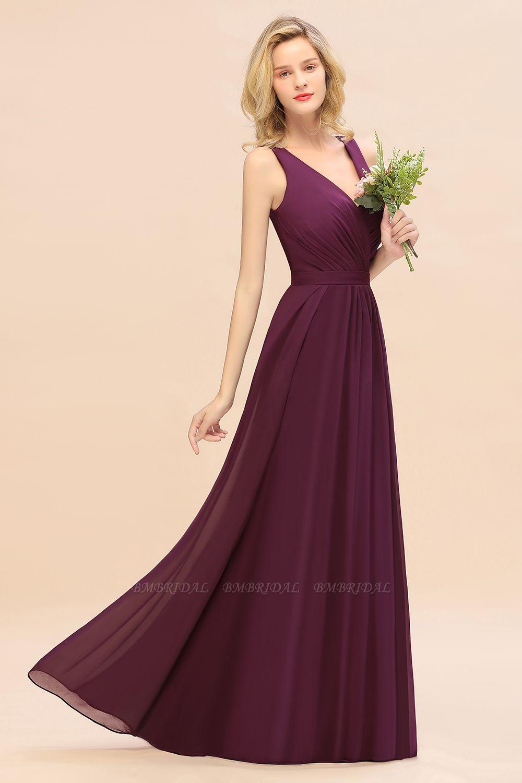 Affordable V-Neck Ruffle Long Grape Chiffon Bridesmaid Dress with Bow