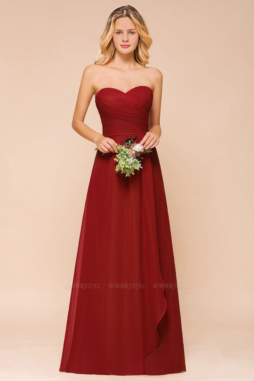 Gorgeous Sweetheart Strapless Rust Bridesmaid Dresses with Ruffle