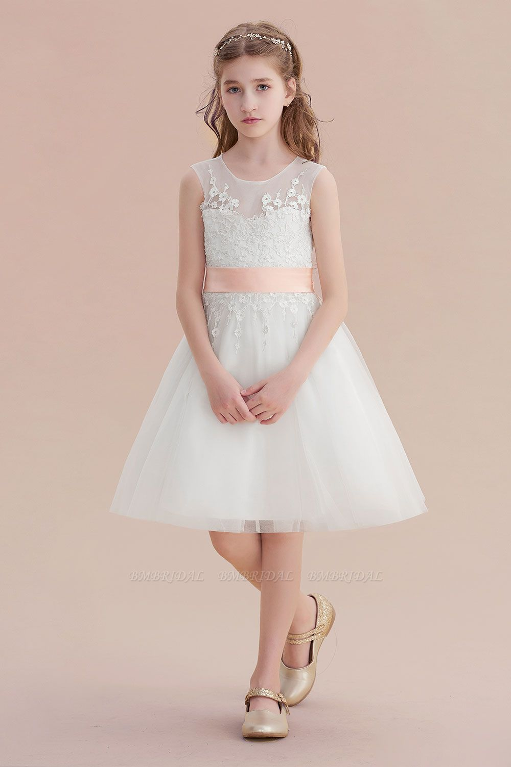 BMbridal A-Line Illusion Appliques Tulle Flower Girl Dress Online
