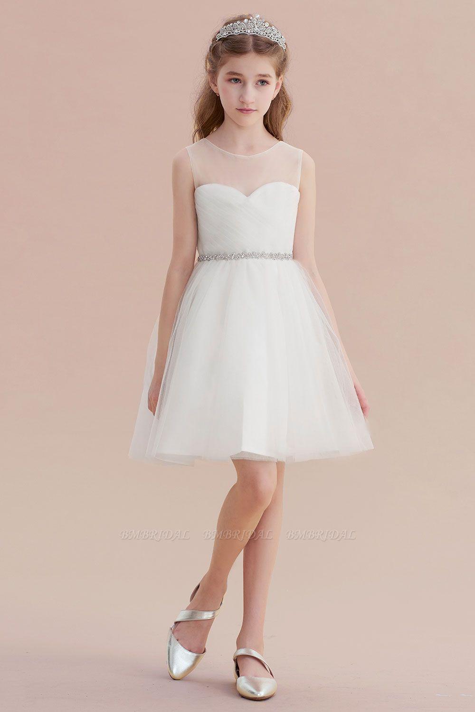 BMbridal A-Line Illusion Knee Length Tulle Flower Girl Dress Online