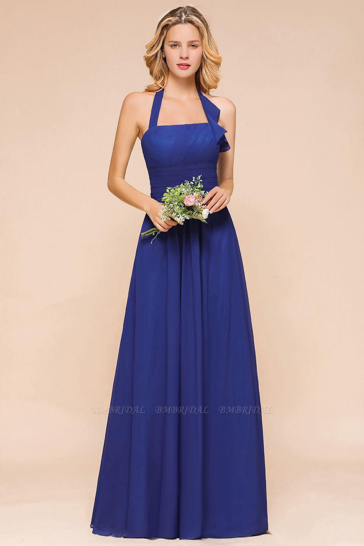 BMbridal Stylish Halter Backless Royal Blue Bridesmaid Dress Affordable with Ruffle