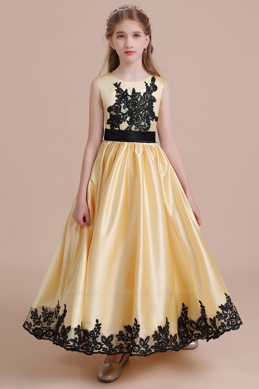 BMbridal A-Line Chic Bow Appliques Satin Flower Girl Dress Online
