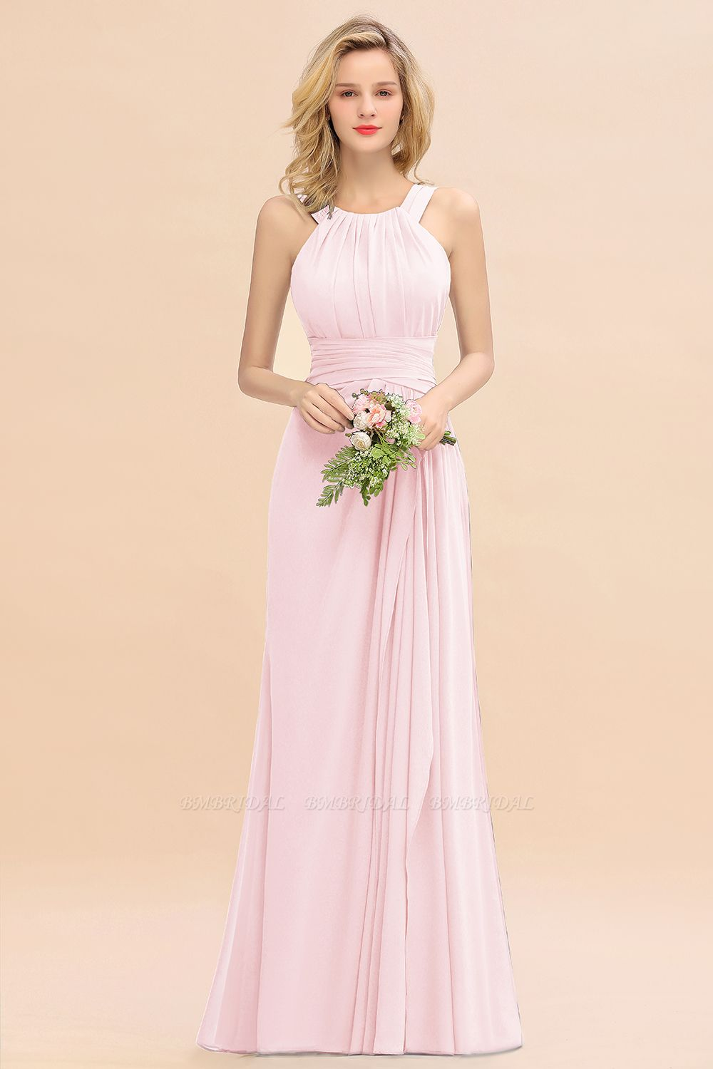 Elegant Round Neck Sleeveless Stormy Bridesmaid Dress with Ruffles