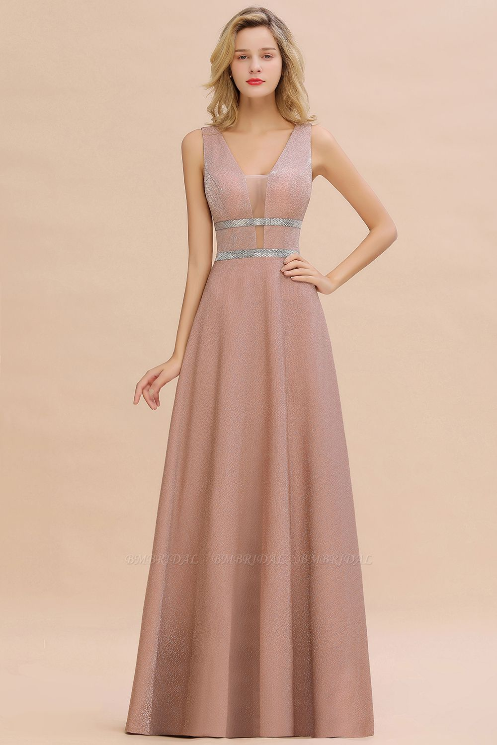 Shinning V-Neck Sleeveless Long Prom Dress Online With Zipper Back