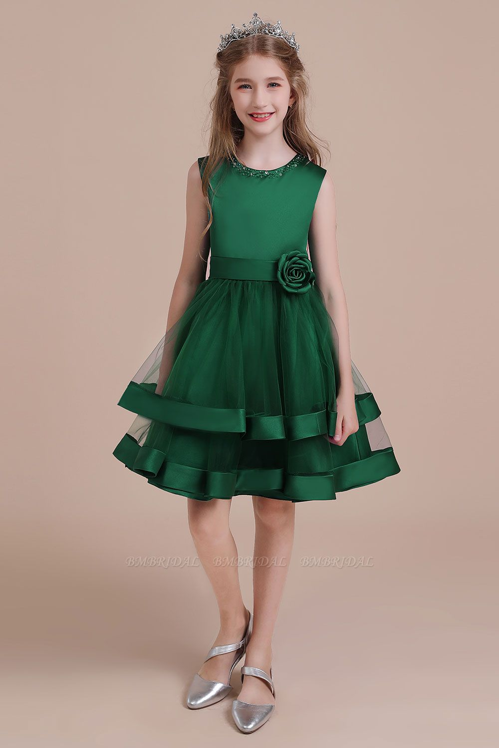 BMbridal A-Line Bow Satin Layered Tulle Flower Girl Dress Online