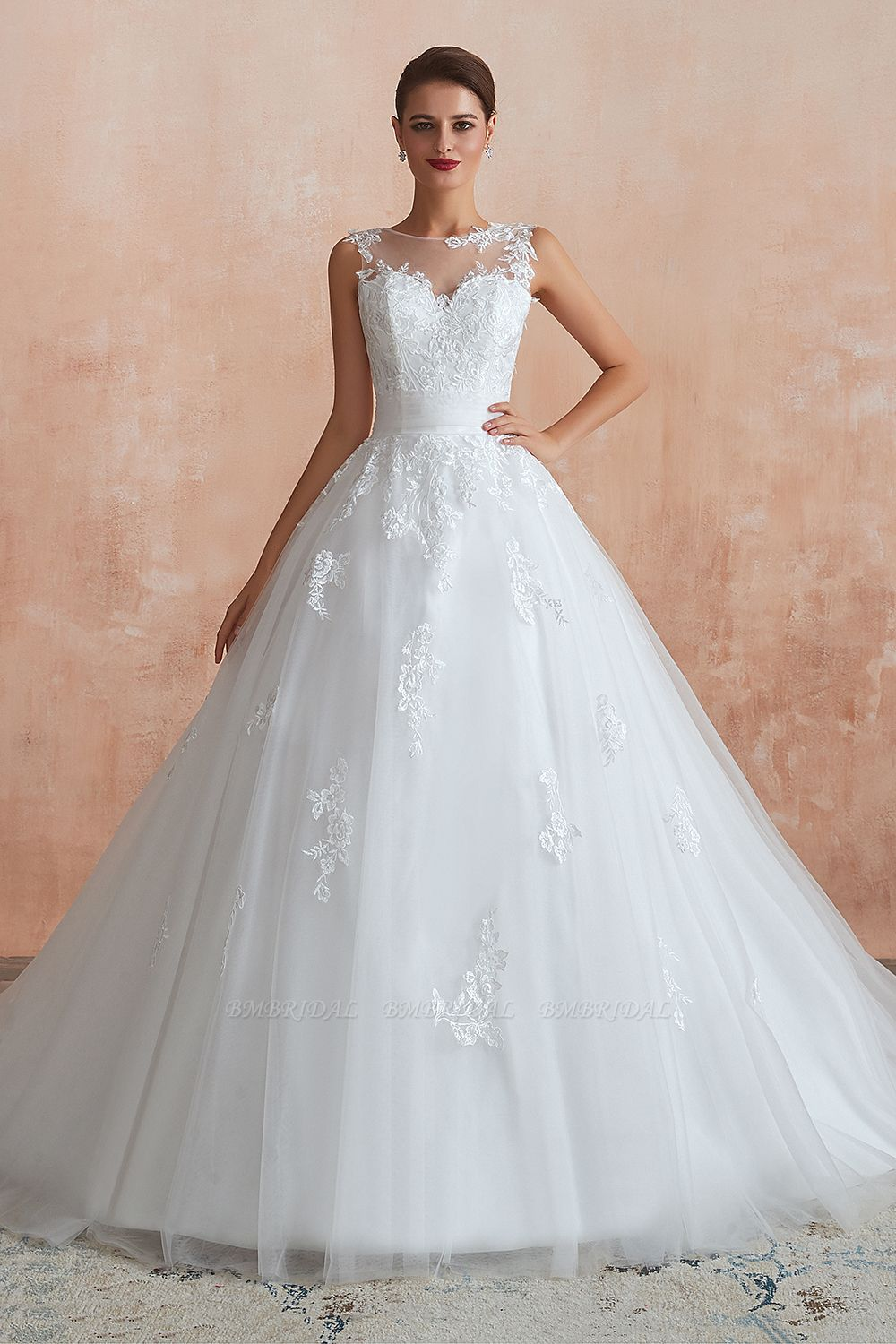 Affordable Sweetheart Sleeveless White Lace Wedding Dresses Online