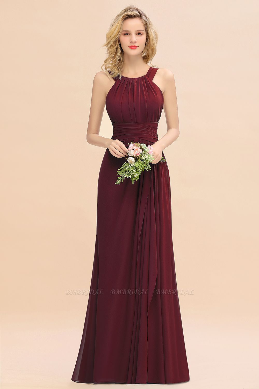 BMbridal Elegant Round Neck Sleeveless Stormy Bridesmaid Dress with Ruffles