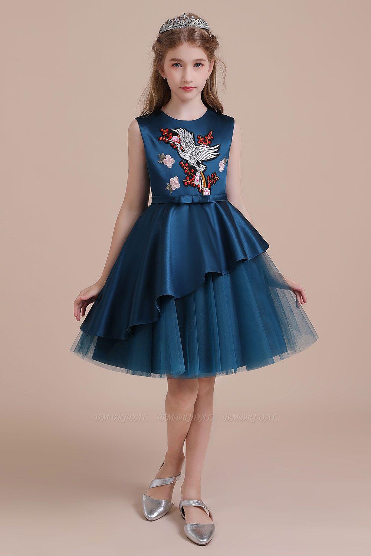BMbridal A-Line Embroidered Satin Tulle Flower Girl Dress On Sale
