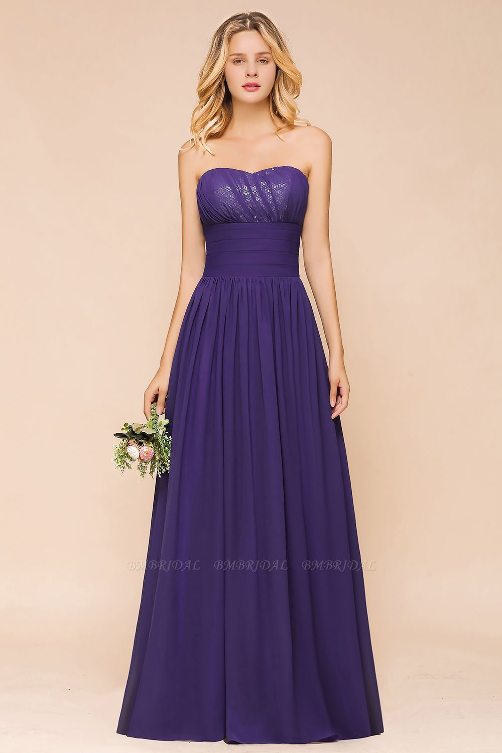BMbridal Affordable Sweetheart Sequins Regency Bridesmaid Dress with Pleats