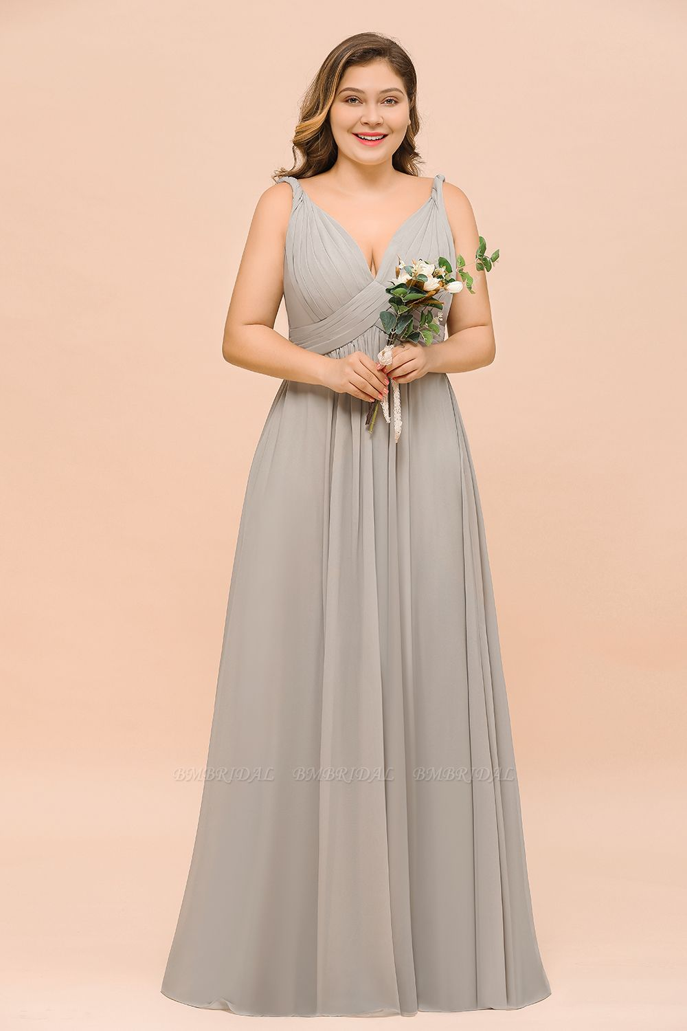 BMbridal Plus Size Chiffon V-neck Sleeveless Affordable Bridesmaid Dress with Ruffle