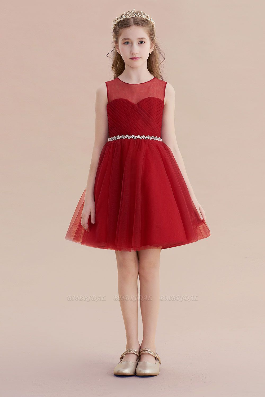 BMbridal A-Line Illusion Tulle Knee Length Flower Girl Dress Online