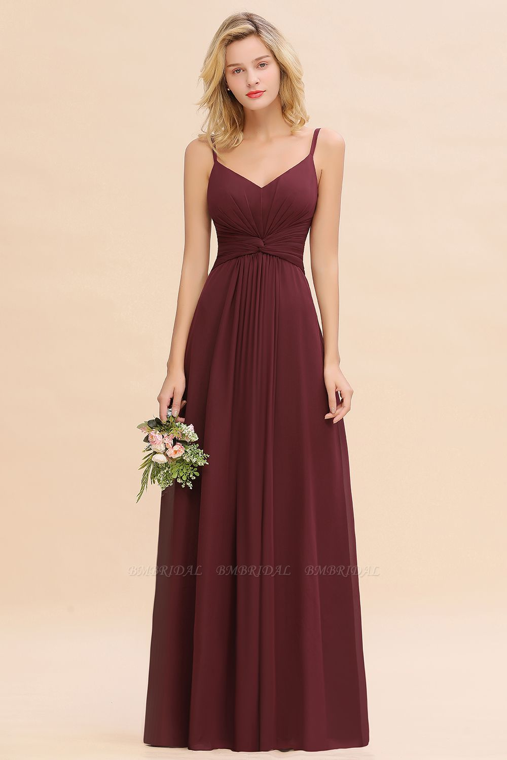 BMbridal Modest Ruffle Spaghetti Straps Backless Burgundy Bridesmaid Dresses Affordable