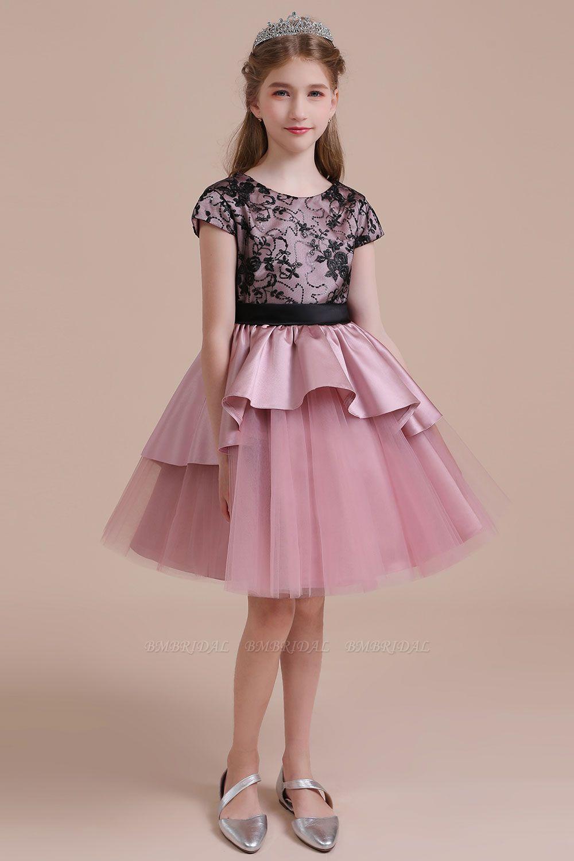 BMbridal A-Line Cap Sleeve Lace Tulle Knee Length Flower Girl Dress On Sale