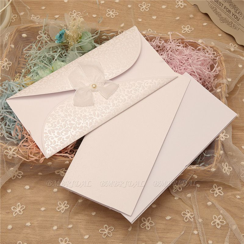 BMbridal Classic Tri-Fold Invitation Cards Pearl Bowknot Style (Set of 50)