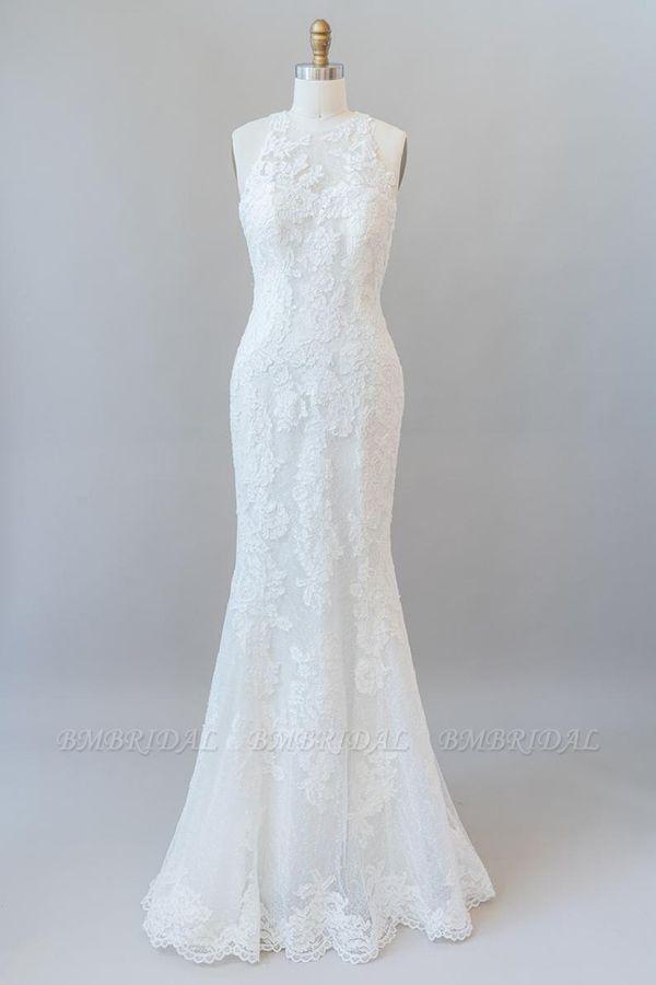 BMbridal Awesome Illusion Lace Mermaid Wedding Dress On Sale
