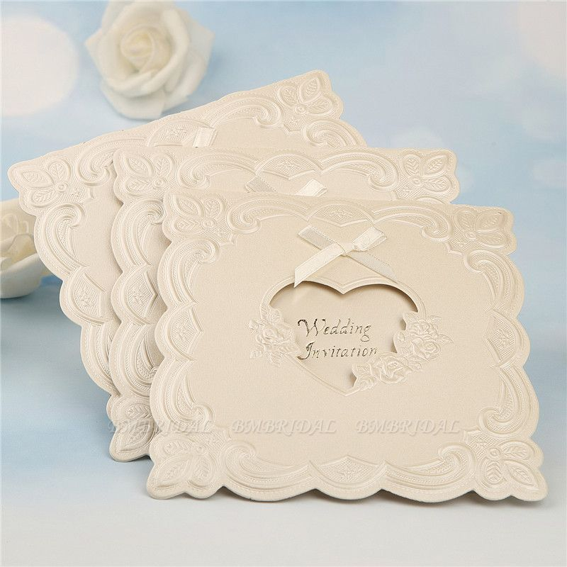 BMbridal Popular Tri-Fold Heart Style Bowknot Invitation Cards (Set of 50)