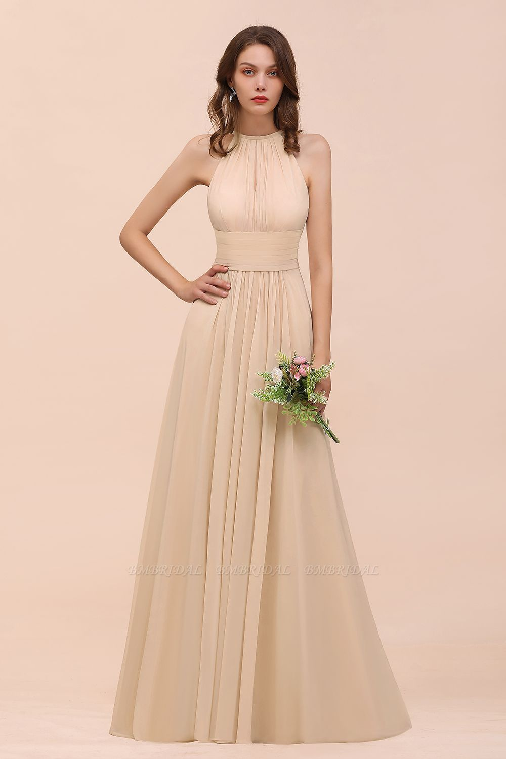 Elegant Chiffon Jewel Ruffle Champagne Affordable Bridesmaid Dress Online