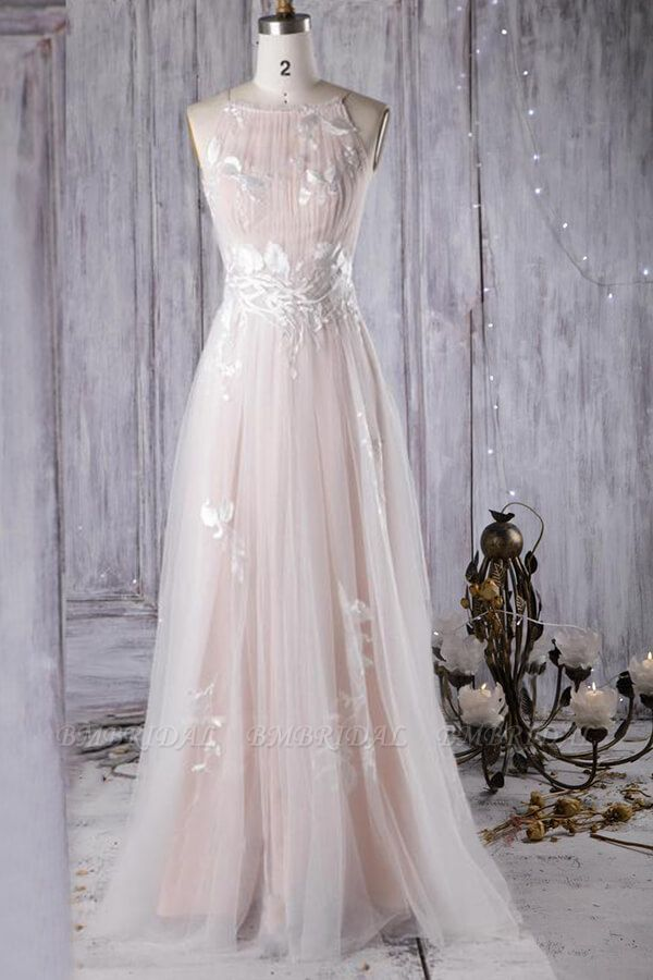 BMbridal Chic Ruffle Floor Length Tulle A-line Wedding Dress Online